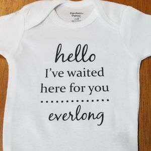 Custom printed baby onesie. I've waited everlong